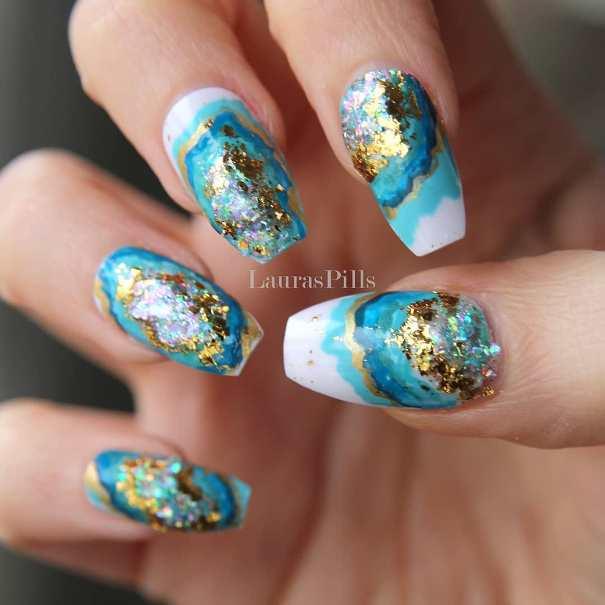 blue geode coffin nail design