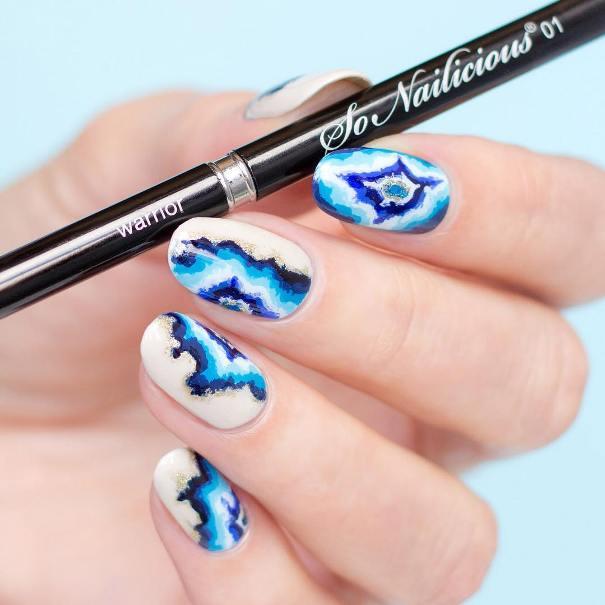 blue geode nails bmodish