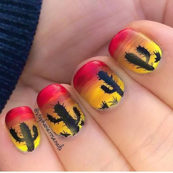 cactus sunset ombre nails bmodish