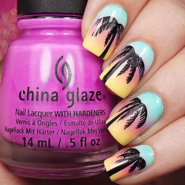 california sunset palm trees nail design bmodish