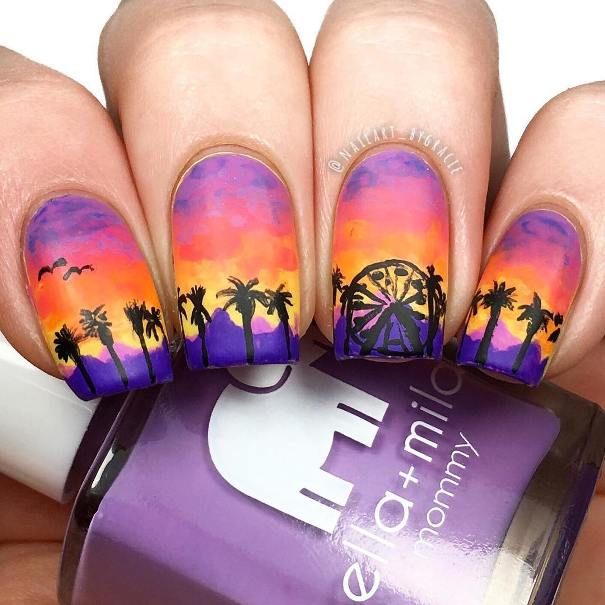 coachella sunset nail design bmodish