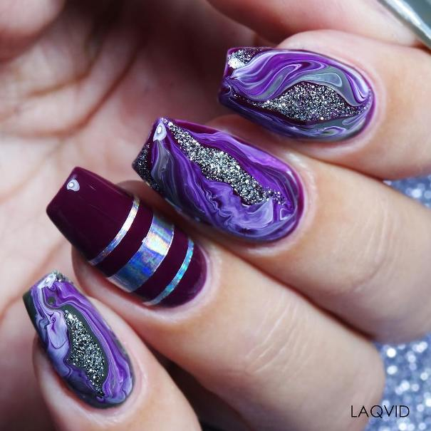 coffin ballerina geode nail design