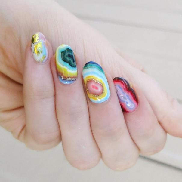 colorful agate geode nails