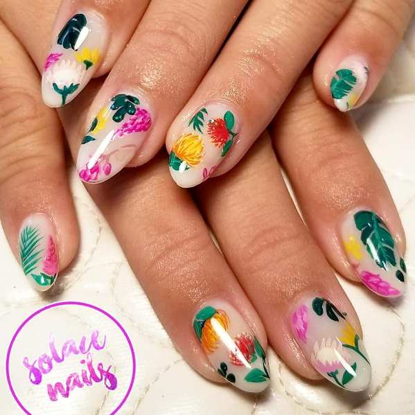 colorful tropical flowers nail design