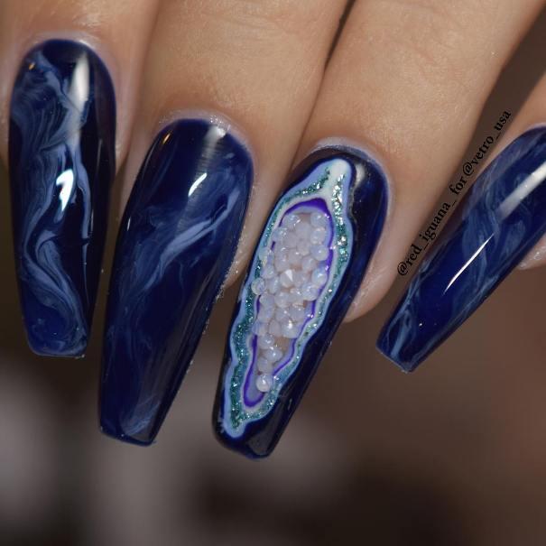 dark blue geode long nail designs bmodish