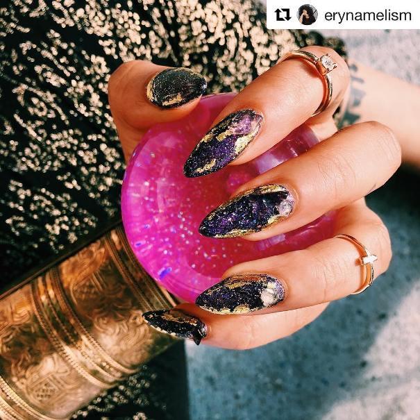 dark geode amethyst nail designs