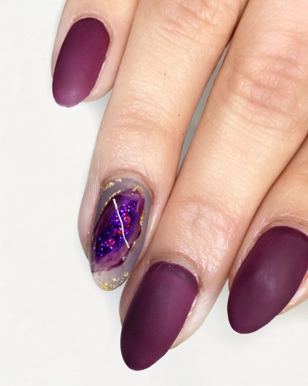 dark purple geode nails