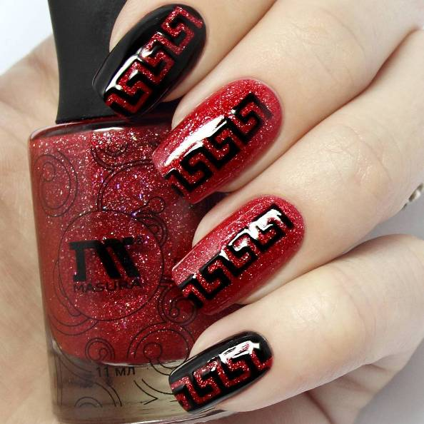 easy red and black nail art bmodish