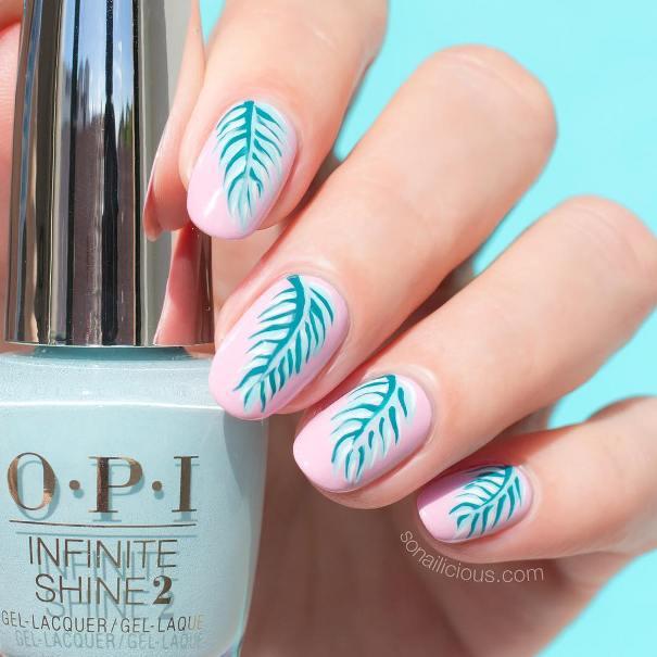 fijian palm pink tropical nail art bmodish