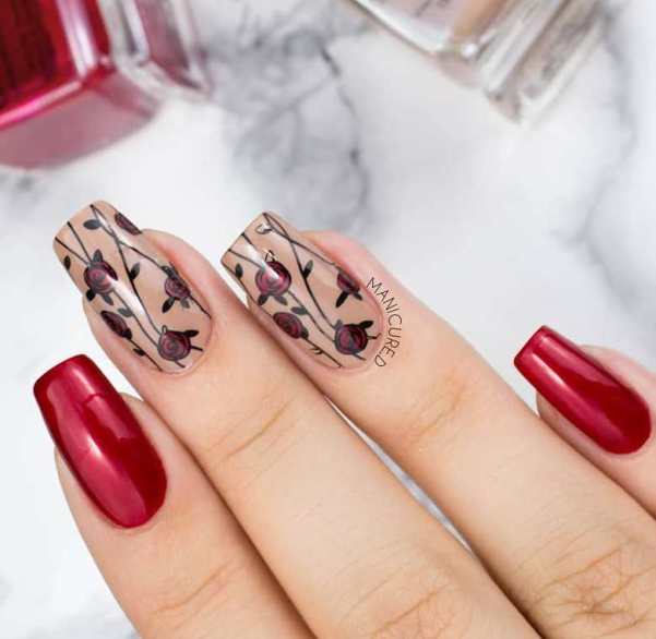 floral black and red nails