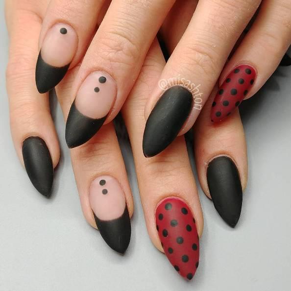 french tips and polka dots nail design