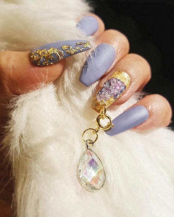 geode and gold foil nail design