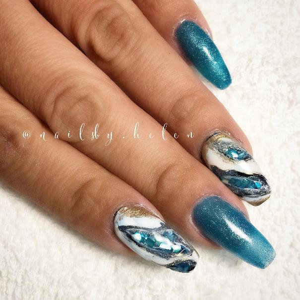 geode inspired blue nail designs