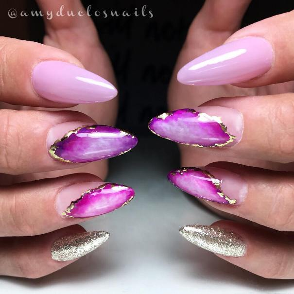 geode inspired nail design