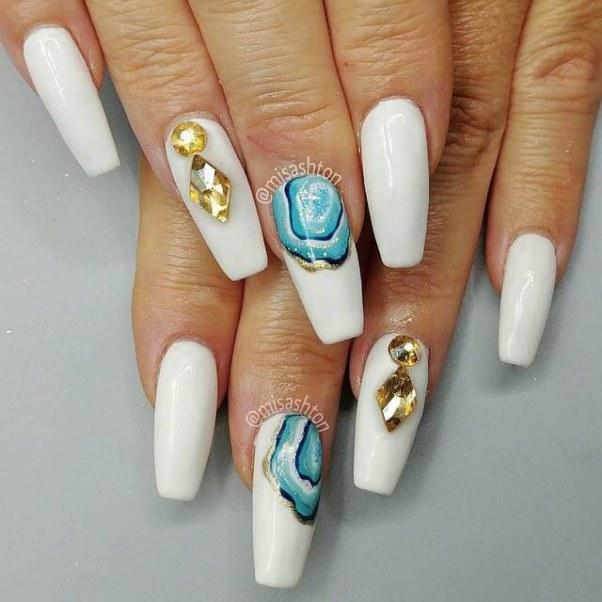 geode white coffin nail design