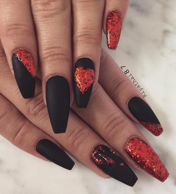 glitter red and matte black coffin nail designs