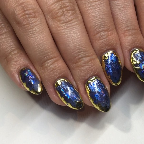 gold blue geode nails
