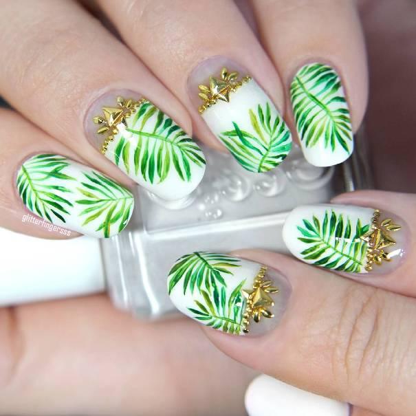 gold embellished tropical summer nail design bmodish