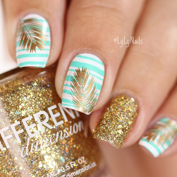 gold leaf tropical summer nails bmodish