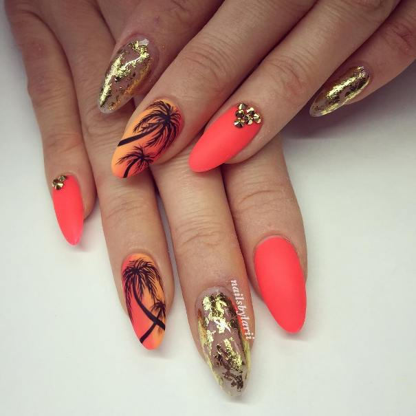 golden sunset almond shape nail design