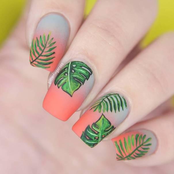 gradient tropical palm nail design bmodish