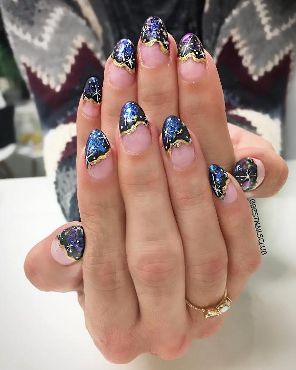 handpainted geode nail art
