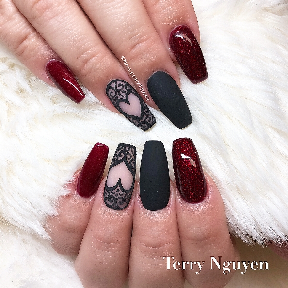 heart sugar red and black nails