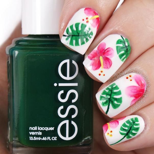 hibiscus plant tropical nails bmodish