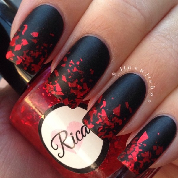 matte gradient black and red nail design