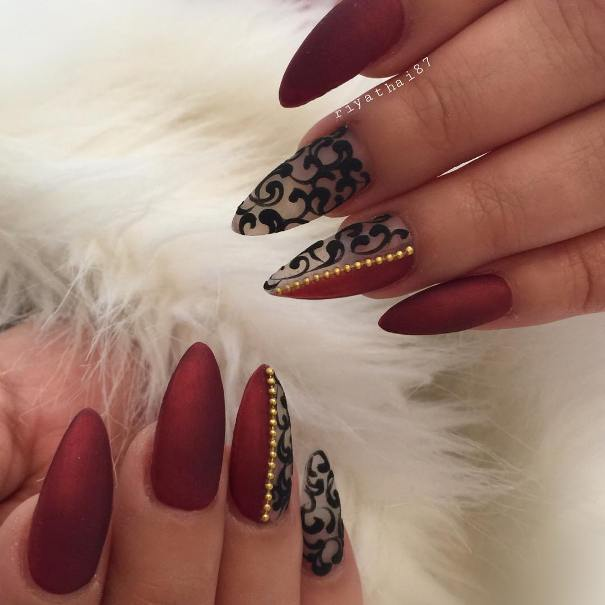 45+ Stylish Red and Black Nail Designs You\'ll Love ❤ 🖤 - Be Modish