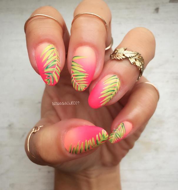 neon gradient palm tropical nail art bmodish