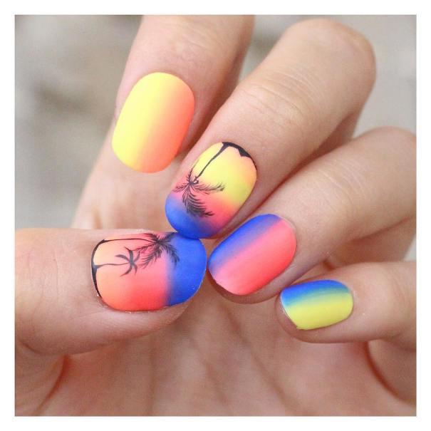 neon sunset nail designs bmodish