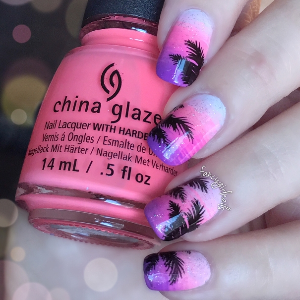 palm trees sunset tropical nails