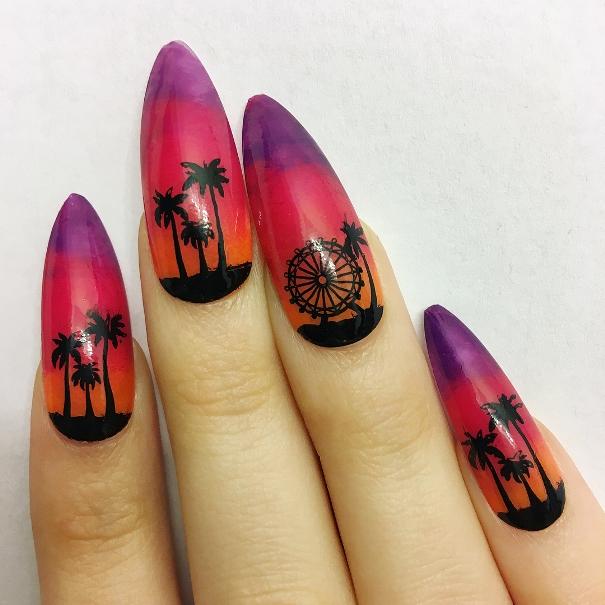 palm trees sunset long nail design