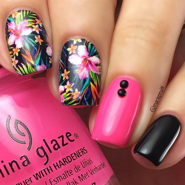 pink and black tropical flowers nail designs bmodish