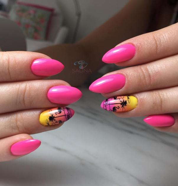 pink sunset nail arts