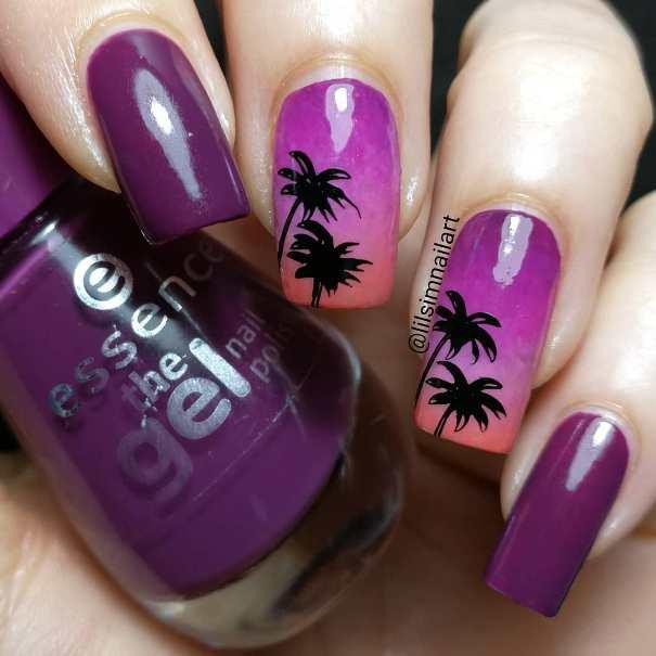 purple sunset on the beach nail art