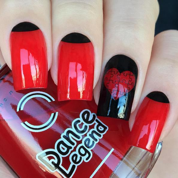 puzzle heart half moon red nail design
