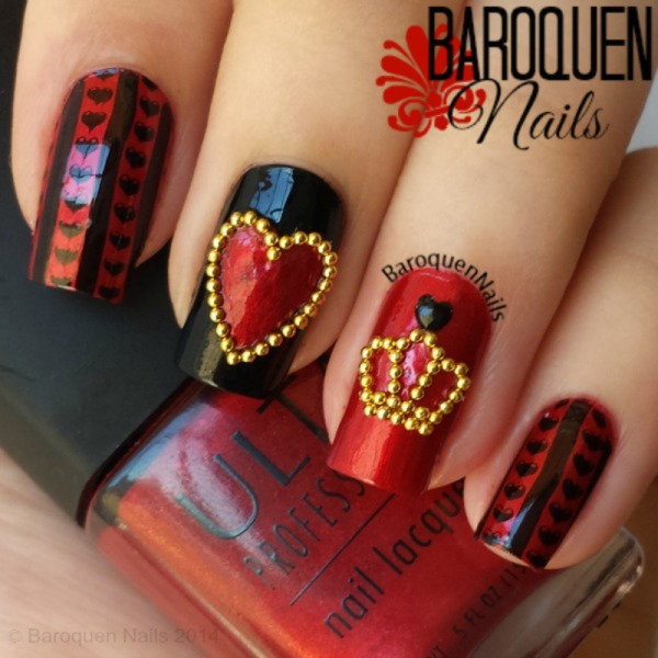 queen of hearts red black and gold nail art