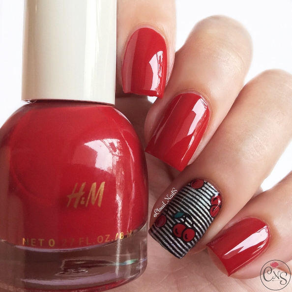 red and black cherry nail design
