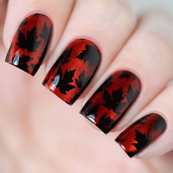 red and black fall leaves nail design bmodish