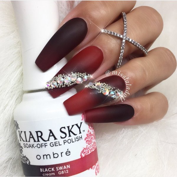red and black gradient long nail design