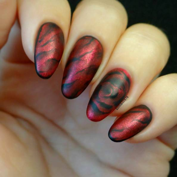 red and black marble nail designs bmodish