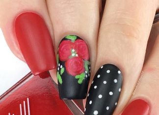 red and black rose and polka dot nail designs bmodish