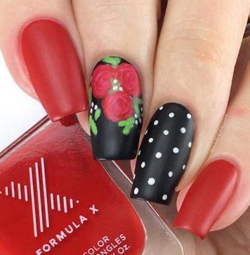 red and black rose and polka dot nail designs bmodish