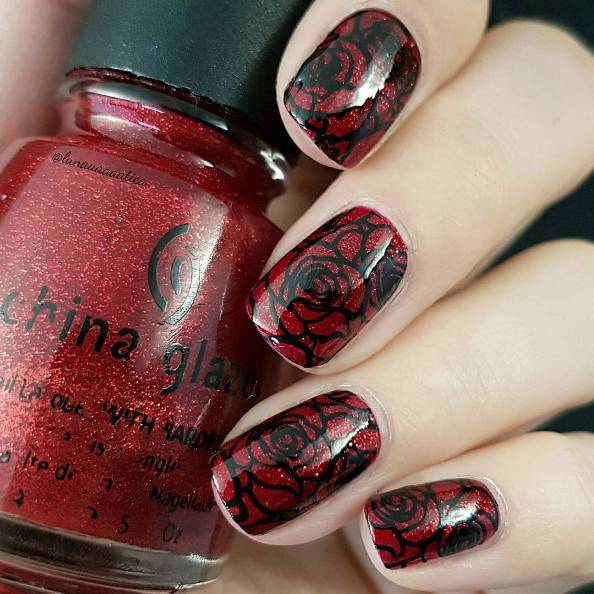 rose red and black nail design bmodish