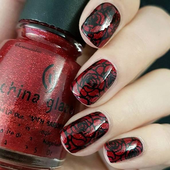 rose red and black nail design bmodish