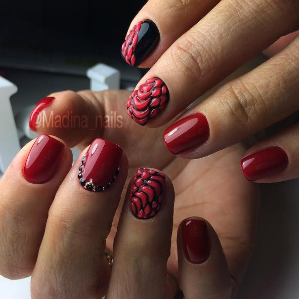 red and black scale nail designs