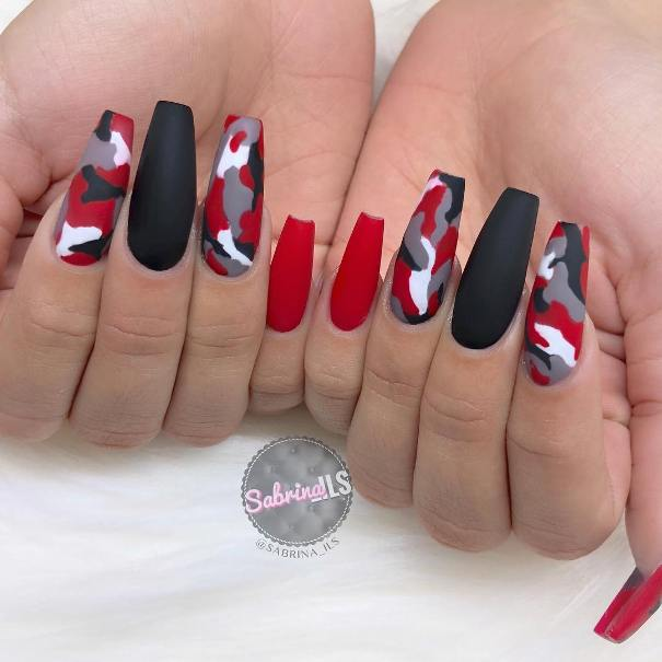 red black and white camo nail designs