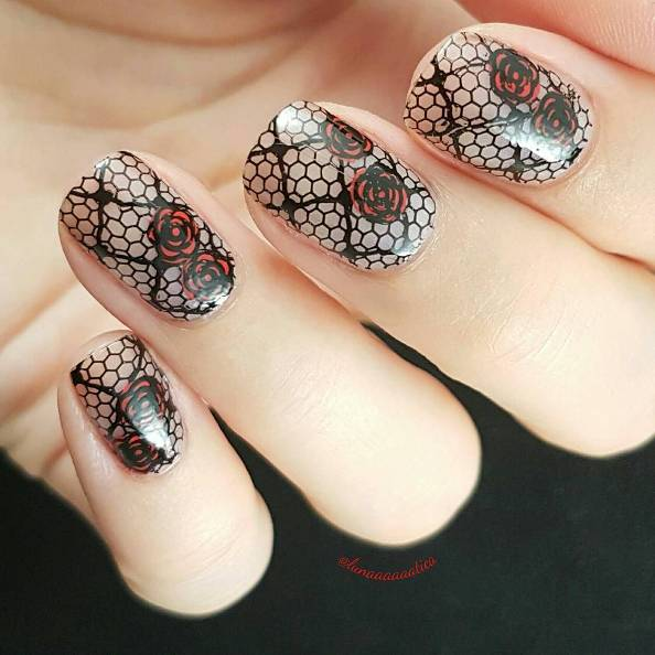 romantic rose lace black and red nail design